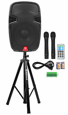 "Rockville RAM12BT 12""Rechargeable Powered 600W PA Speaker+2 Mics+Bluetooth+Stand"