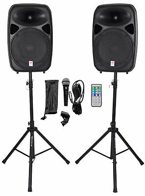 """Rockville RPG152K Dual 15"""" Powered Speakers/Bluetooth+Mic+Speaker Stands+Cables"""