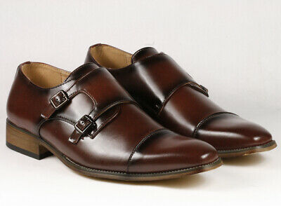 """Black Men/'s Perforated Double Monk Strap Slip On Dress Shoes /""""PREOWNED/"""""""
