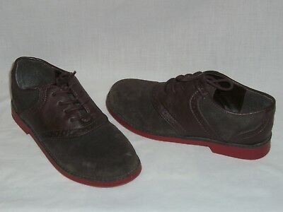 KENNETH COLE REACTION Dk Brown Wingtip Saddle Oxford Shoes - BOYS 3.5 M - EUC