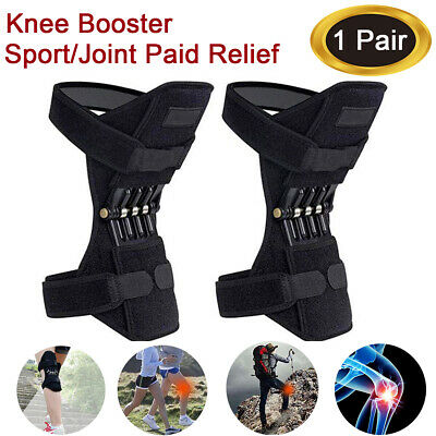 2X Knee Joint Support Brace Lift Booster Leg Pad Sport Spring Force Pain Relief