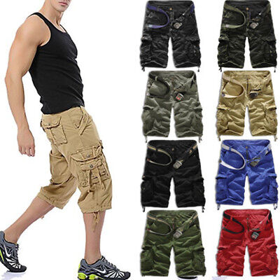 Men Cargo Shorts Pants Casual Army Combat Camo Military Camping Pockets Trousers