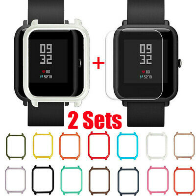 2 Set Case Cover Shell+Screen Protector For Xiaomi Huami Amazfit Bip Youth Watch