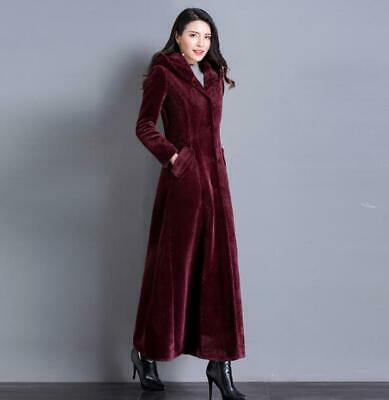 Chic Womens Hooded Coat Velvet Parka Outwear Thick Long Jackets winter warm Top