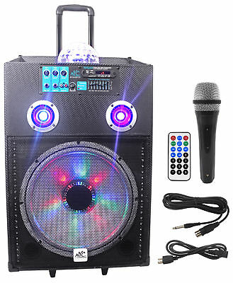 """NYC Acoustics N15AR 15"""" 600w Rechargeable Powered Bluetooth Party Speaker w Mic"""