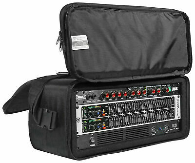 "Rockville RRB40 4U Rack Bag Double-Sided Case with 12"" Depth + Shoulder Strap"