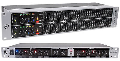 Rockville REQ231 Dual 31 Band 1/3 Octave Graphic Equalizer+3 Way Mono Crossover