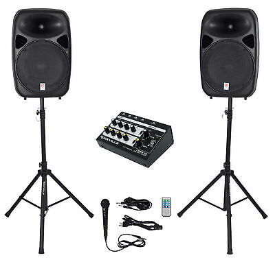 """Rockville RPG152K Dual 15"""" Powered Speakers, Bluetooth+Mic+Stands+Cables+Mixer"""