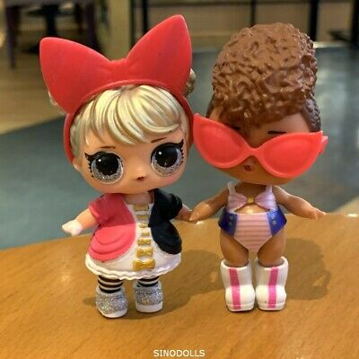 Lot 2x Lol Surprise Dolls Glam Glitter Curious QT & Rip Tide with outfit as pic