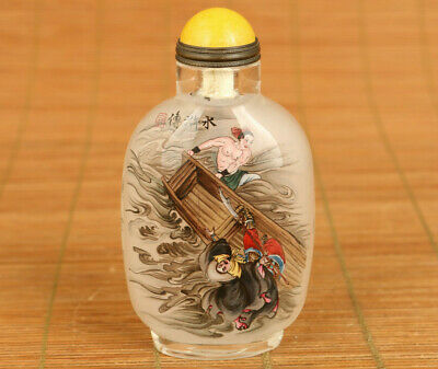 Rare Old Glass Hand Painting Water Margin figure statue Snuff Bottle home deco