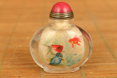 mini Rare Old hair crystal inside true to life gold fish Statue Snuff Bottle