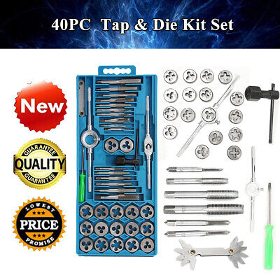 40pc Metric Wrench Tap And Die Set Cuts M3-M12 Bolts Engineers Kit With Hard Box
