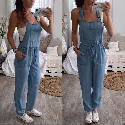 Womens Denim Dungarees Ladies Summer Casual Loose Long Jeans Overalls Size 10-18
