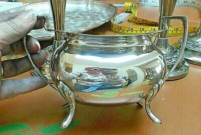 """Stylish Deco Walker & Hall Silver Plated Large Footed Bowl 7"""" wide 5"""" tall"""