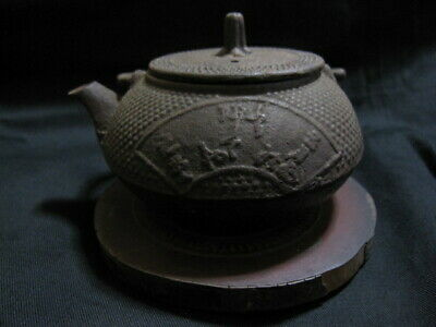 Japanese Antique Small Iron Kettle Tea Pot TETSUBIN with Wooden Stand 720g -t1-