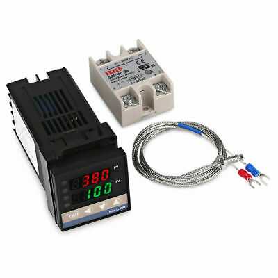 REX-C100 PID Temperature Controller+K Thermocouple 0-400℃+40A Solid  State Relay