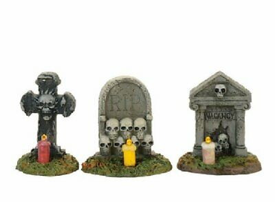 Department 56 Halloween Village Spooky Graveyard Vigil Gravestones Set 3 4057627