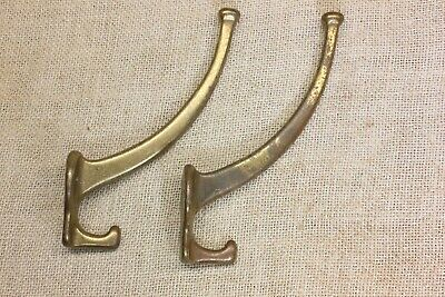 2 old Coat Hooks clothes tree craftsman tarnished brass color aluminum vintage