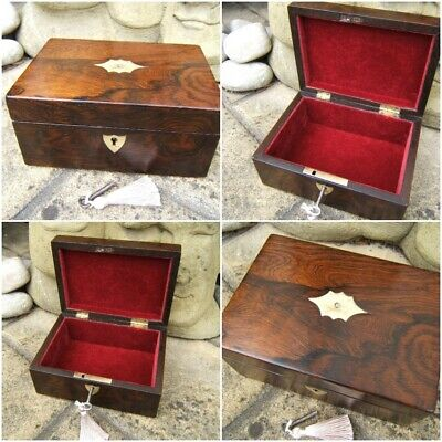 Lovely 19C Antique Rosewood Inlaid Document/Jewellery Box - Fab Interior