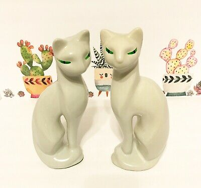 Vintage Mid Century Ceramic Cats White With Green Eyes
