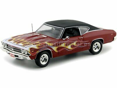 1969 Chevrolet Chevelle SS 396 Maroon-Flames 1:18 Auto World AMM1108