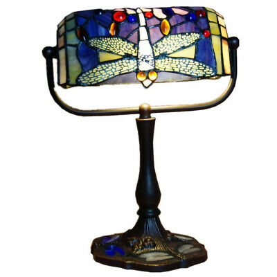 NEW Traditional Dragonfly Tiffany Leadlight Stained Glass Banker Lamp