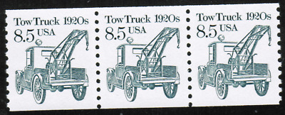 US #2129 8.5c Tow Truck 1920s Transportation MNH Strip of 3 Stamps