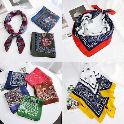 Womens Silk Feel Satin Square Scarf Small Bandana Head Neck Hair Tie Wristbands