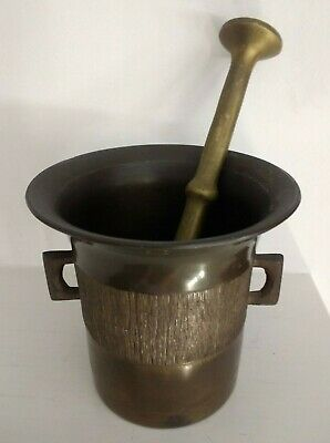 Antique / Vintage Bronze Mortar & Pestle Pharmacy Apothecary Drug Heavy Bronze