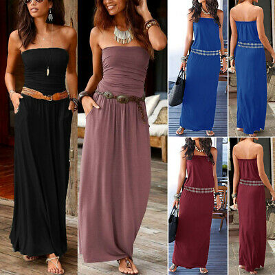 Womens Bandeau Holiday Party Long Sundress Casual Ladies Beach Solid Maxi Dress