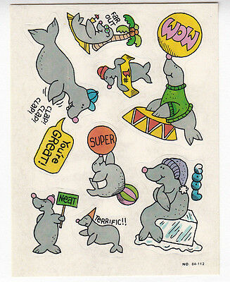 Vintage Paper Art Giggle Sticker Sheet - Cute Seal Circus Sea Lion