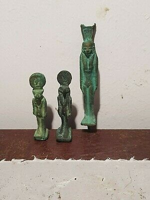 Rare Antique Ancient Egyptian 3 Bronze Statues Amulets Protection 1830-1750BC