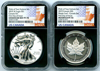 2019 W Canada Rcm Version Pride Of Two Nations Ngc Pf70 Set First Day Issue 10K