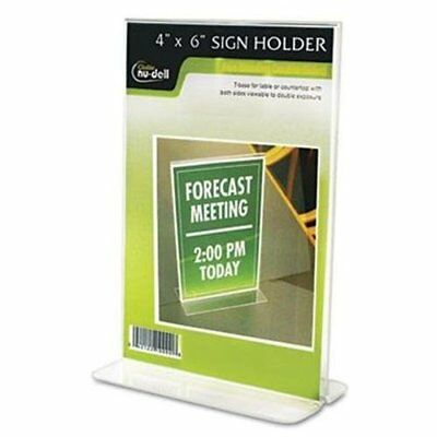 """Nu-dell Double-sided Sign Holder - 4"""" Width X 6"""" Height - Plastic - Clear"""
