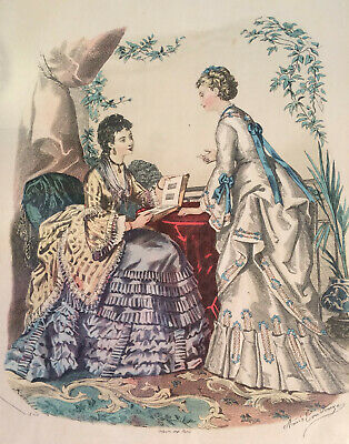 Vintage Antique Art Print Picture French Victorian Ladies with Wooden Wall Frame