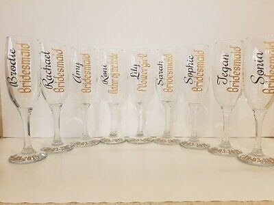 Wedding Glass (Decal Only)  Bride, Bridesmaid, Maid Of Honour Personalised