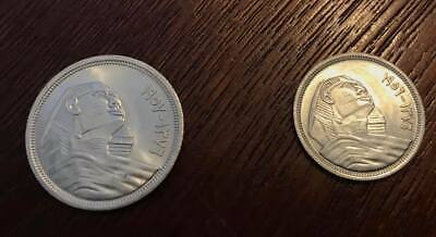 Egyptian silver coins of (SPHINX) 1 10 piasters 1957 & 1 5 piasters 1956