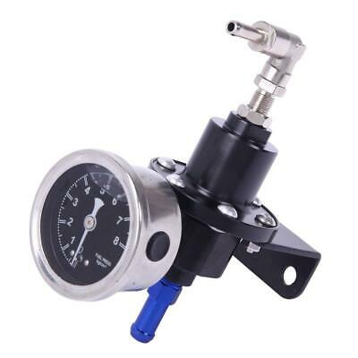 High Precision Aluminum Adjustable Fuel Pressure Regulator Oil Gauge Kit Black