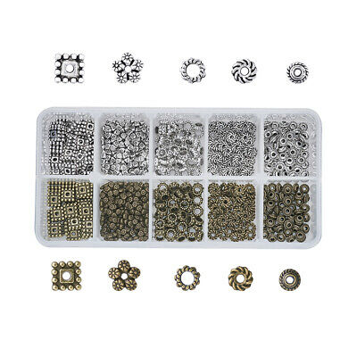 500pcs/Box 5 Styles Large Hole Tibetan Alloy Bead Spacers for DIY Jewelry Making