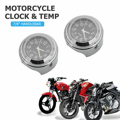 "Clock & Thermometer Gauge For 7/8"" 1"" Motorcycle Motorbike Bicycle Handlebar UK"