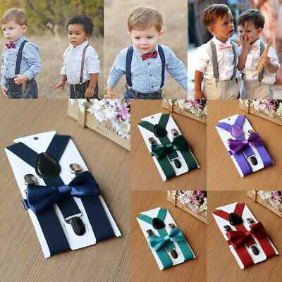 2019 Suspender + Bow Tie Matching Set Toddler Kids Boys Girls Baby Wedding
