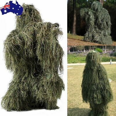 Woodland Print Camo Kids Ghillie Suit 5pcs Set Warp Pants Jacket Hood Gun Bag CS