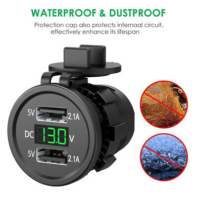 Dual USB Charger Socket Adapter Power Outlet 12V DC Car Motorcycle Waterproof UK
