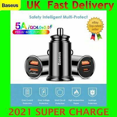 Baseus 30W Dual USB Type C Car Charger Socket Adapter QC 4.0 Fast Quick Charge