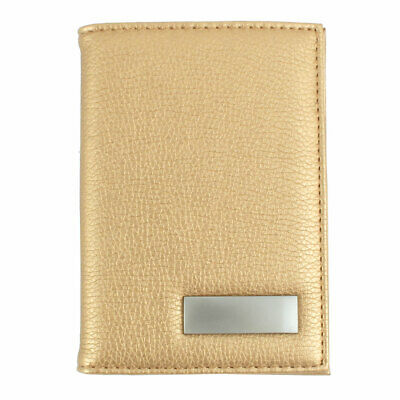 Unisex Outdoor Work Certificate Name ID Credit Card Case Organizer Gold Tone
