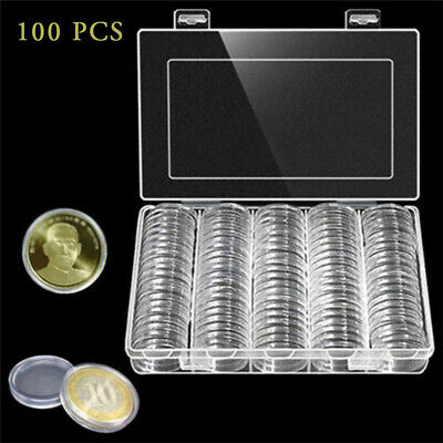 100 Pcs Coin Storage Box Clear Plastic Round Cases Capsules Holder Applied 30mm