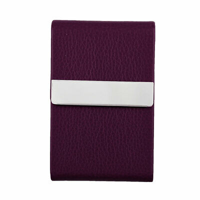 Unisex Work Travel Magnetic Shut Certificate Name ID Credit Card Case Purple