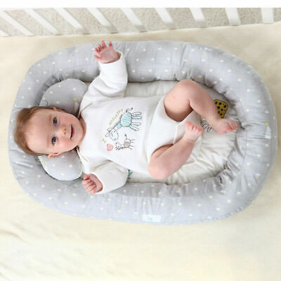 74*51cm Baby Newborn Bassinet Bed Soft Lounger Crib Sleep Nest With Pillow H