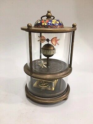 Chinese Old copper goldfish Mechanical clock table Home decoration