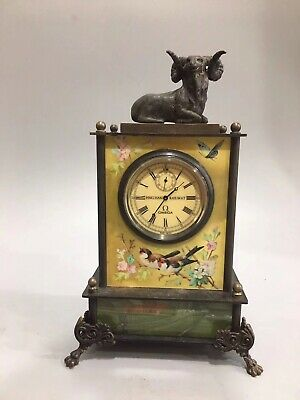 Chinese Old copper goat Mechanical clock table Home decoration